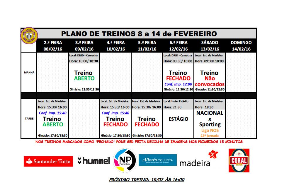 Plano de treinos semana de 8 a 14 de fevereiro