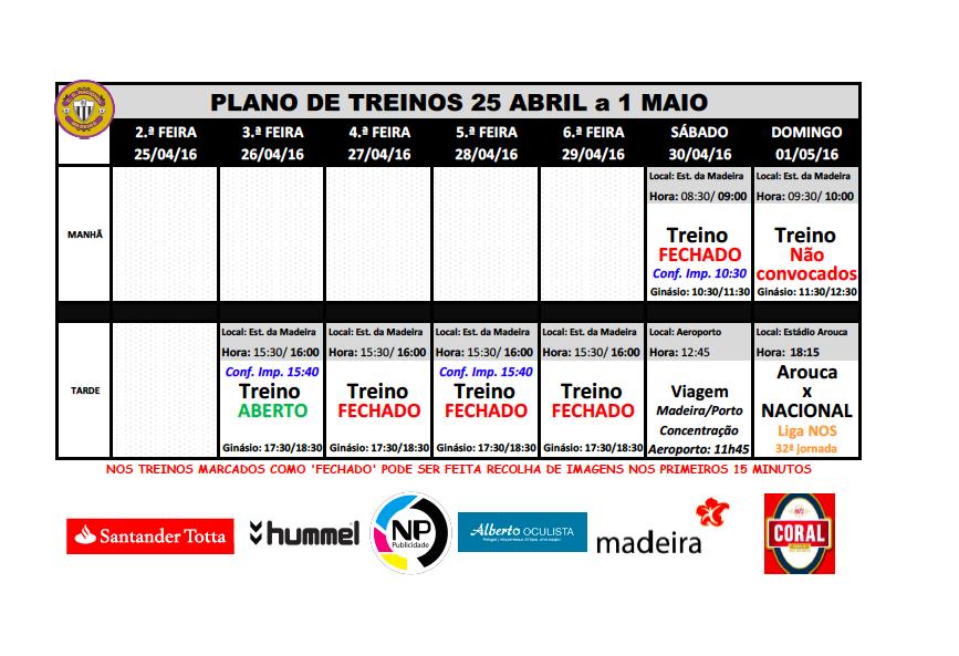plano de treinos 25 abril a 1 maio