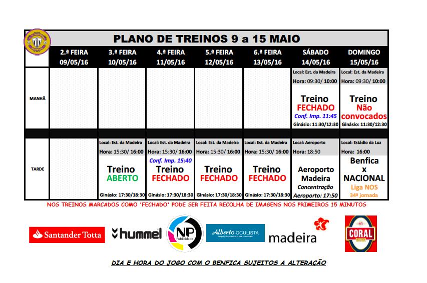 plano de treinos 9 a 15 maio