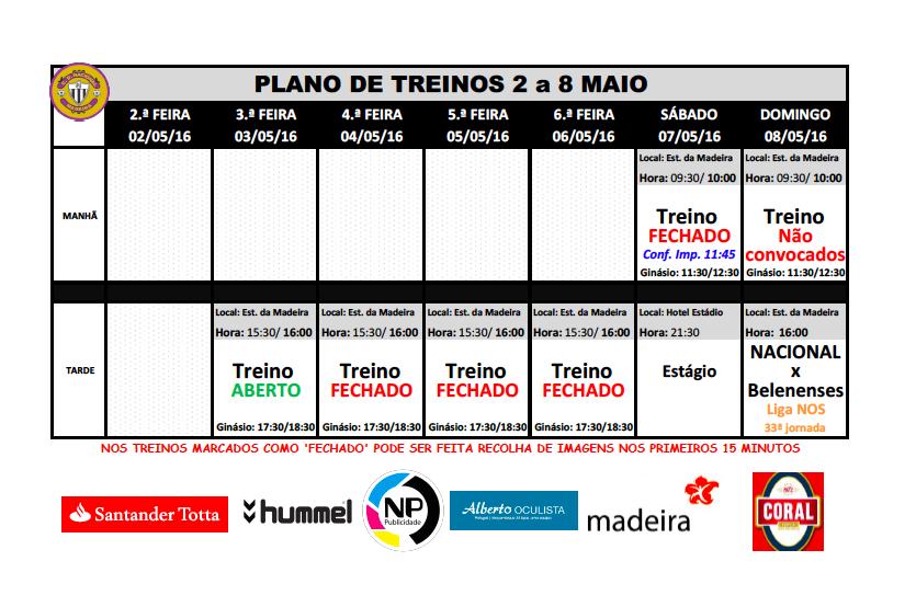 plano de treinos semana de 2 a 8 maio