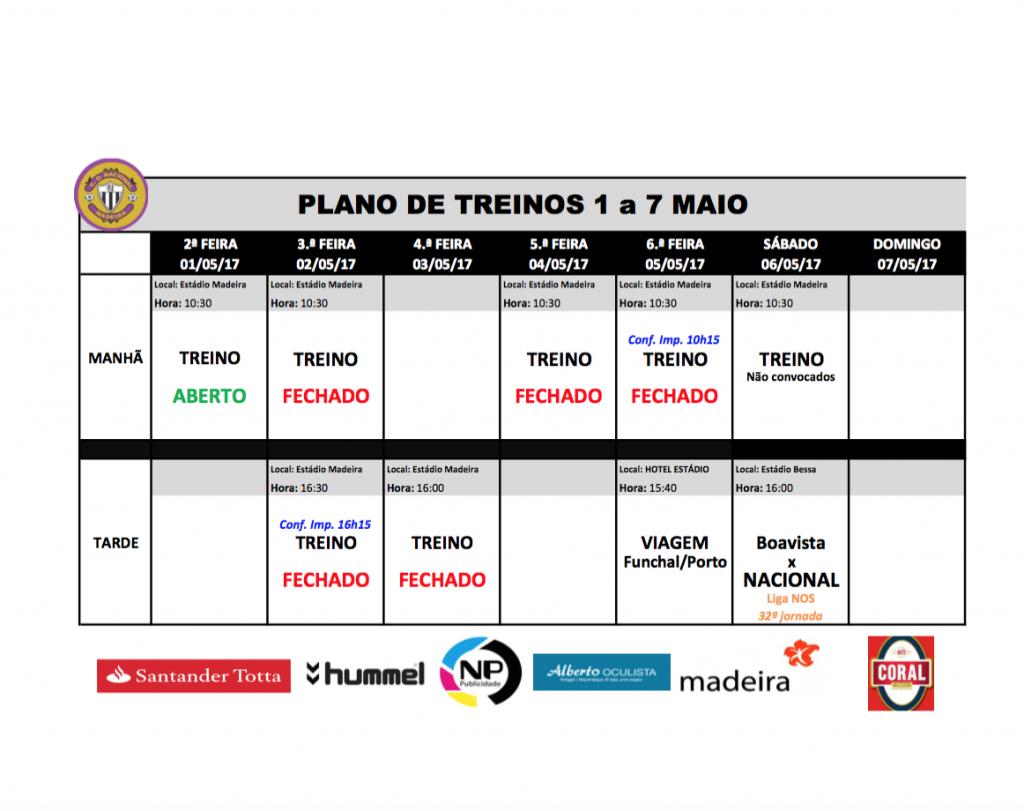 plano 1 a 7 maio